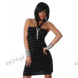 Seksowna czarno - srebrna sukienka UNI
