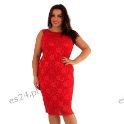 Śliczna sukienka z koronki w kolorze czerwonym 50
