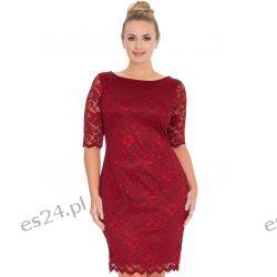 Śliczna sukienka z koronki w kolorze wina 46
