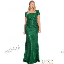 Zjawiskowa sukienka z cekinów zielona 42