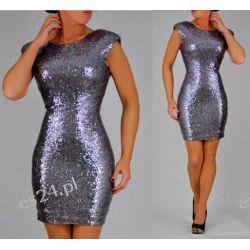 Śliczna srebrna sukienka z cekinów M
