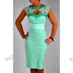 """Seksowna sukienka """"Eliza""""duże rozmiary mięta 46"""