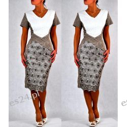 """Seksowna sukienka """"Paloma"""" duże rozmiary beż 50"""