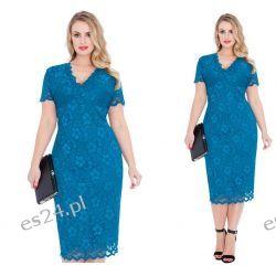 Seksowna sukienka z koronki turkusowa 46