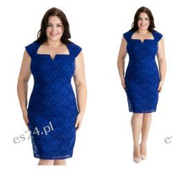 Seksowna sukienka z koronki szafirowa 46