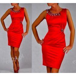 "Seksowna sukienka ""Beata"" czerwień duże rozmiary 50"