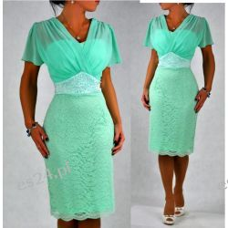 """Seksowna sukienka """"Arkadia""""duże rozmiary mięta 50"""