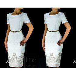 Elegancka sukienka Paulina ecru 46