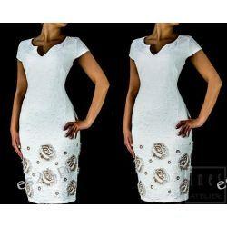 Elegancka sukienka Jagoda ecru - beż 48