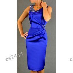 "Seksowna sukienka ""Beata"" szafir duże rozmiary 50"