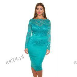 Śliczna sukienka z koronką turkusowa 50