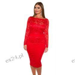Śliczna sukienka z koronką czerwona 50