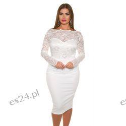 Śliczna sukienka z koronką biała 50