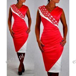 "Seksowna sukienka ""Vanessa"" duże rozmiary koral-ecru 50"