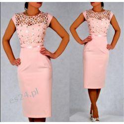 "Seksowna sukienka ""Victoria"" duże rozmiary pudrowy róż 46"