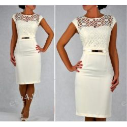 "Seksowna sukienka ""Victoria"" duże rozmiary krem 46"