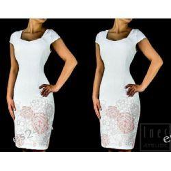 Elegancka sukienka Jagoda ecru - róż 48
