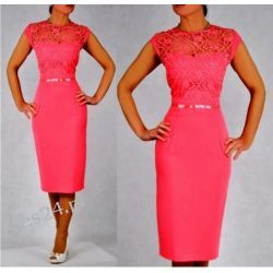 """Seksowna sukienka """"Victoria"""" duże rozmiary koral 46"""