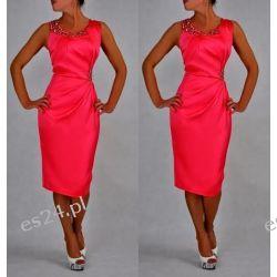 """Seksowna sukienka """"Beata"""" koral duże rozmiary 46"""