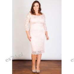 Seksowna sukienka z koronki różowa 52