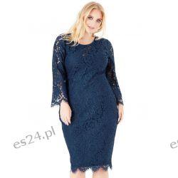 Elegancka sukienka z koronki granatowa 48