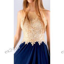 """Świetna sukienka """"Luiza"""" granat-złoto 50"""