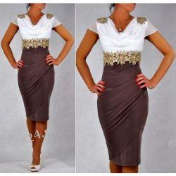 """Seksowna sukienka """"Starr"""" duże rozmiary brąz 46"""