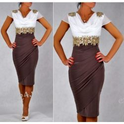 """Seksowna sukienka """"Starr"""" duże rozmiary brąz 50"""