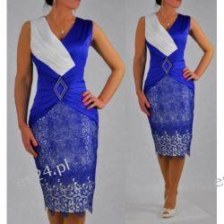 Śliczna sukienka Pamela szafir 48