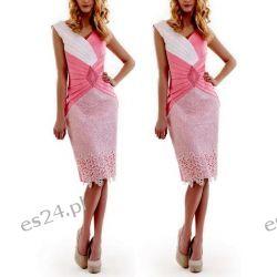 Śliczna sukienka Pamela róż 46 Odzież, Obuwie, Dodatki