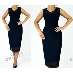 """Seksowna sukienka """"Joanna"""" duże rozmiary granatowa 52 Odzież, Obuwie, Dodatki"""