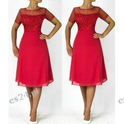 """Seksowna sukienka """"Anna"""" duże rozmiary koral 46"""