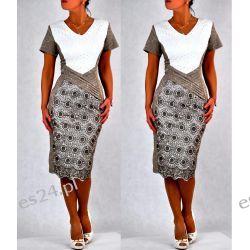 """Seksowna sukienka """"Paloma"""" duże rozmiary beż 44 Odzież damska"""