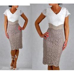 """Seksowna sukienka """"Venus"""" duże rozmiary beż 44 Odzież damska"""