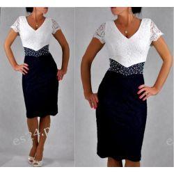 "Seksowna sukienka ""Venus"" duże rozmiary granat 46 Odzież damska"