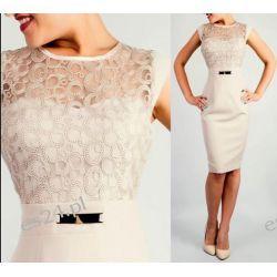 """Seksowna sukienka """"Victoria"""" duże beż 48 Odzież damska"""