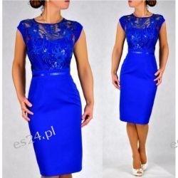 "Seksowna sukienka ""Victoria"" duże szafir 48 Odzież damska"
