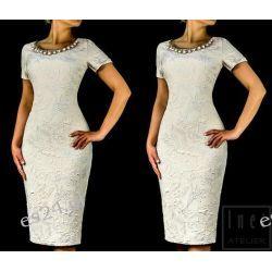 "Seksowna sukienka ""Mona"" beż-srebro 42"