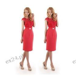 """Seksowna sukienka """"Victoria"""" duże rozmiary malinowa czerwień 42"""