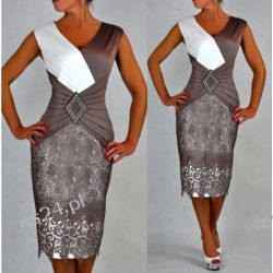 Śliczna sukienka Pamela beż 48
