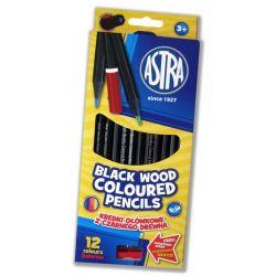 Astra kredki ołówkowe z czarnego drewna 12 kol