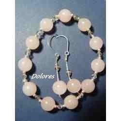 Kolczyki i bransoletka z kwarcu różowego, srebra i kryształków Swarovskiego Na rękę