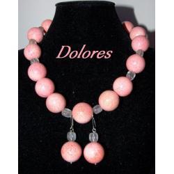 Naszyjnik i kolczyki z 1,7 cm kul z koralowca i kwarcu różowego ze srebrnym zapięciem