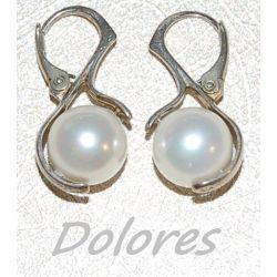 Srebrne kolczyki z białą perłą Majorka Wisiorki