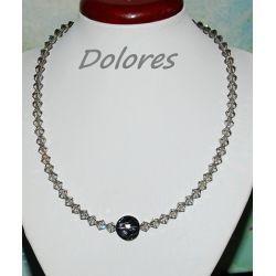 Naszyjnik z kryształków Swarovskiego silver night ze srebrnym zapięciem Kolczyki
