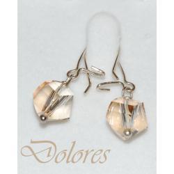 Srebrne kolczyki z Kryształem Swarovskiego Golden Shadow Kolczyki
