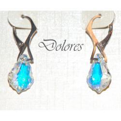 Srebrne kolczyki z kryształami Swarovskiego baroque pendants AB Kolczyki