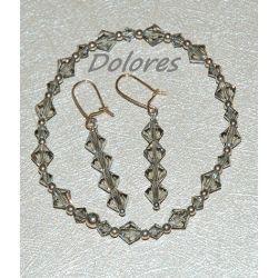 Bransoletka i srebrne kolczyki z kryształków Swarovskiego silver night Komplety