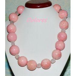 Naszyjnik z koralowca i kwarcu różowego ze srebrnym zapięciem