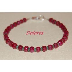 Bransoletka z rubinów i szmaragdów ze srebrnym zapięciem Komplety